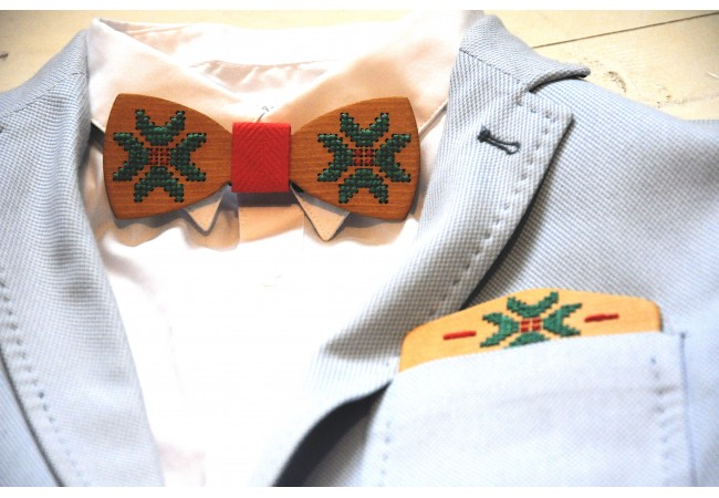 Wood bow tie pocket engraved Calmo