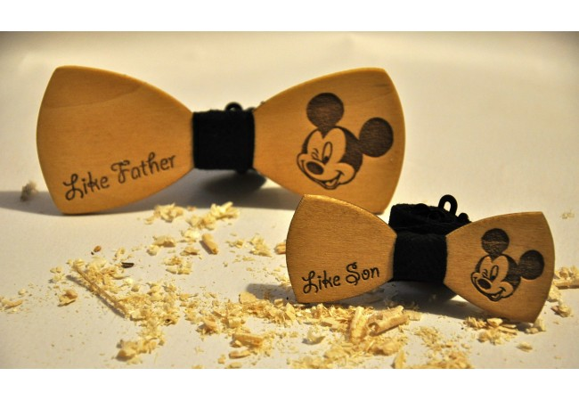 Wood bow tie Mickey Mouse
