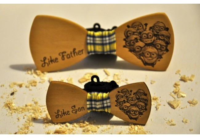 Wood bow tie Minions