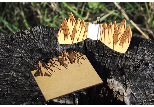 Wood bow tie pocket engraved Montagna