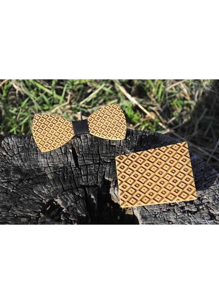 Wood bow tie pocket engraved Elegante