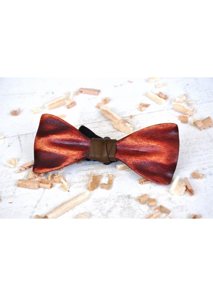 Wood bow tie carved Apollo